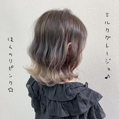 ピンクグレージュ バレイヤージュ グレージュ ガーリー ヘアスタイルや髪型の写真・画像
