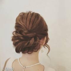 セミロング 大人かわいい 結婚式 ゆるふわ ヘアスタイルや髪型の写真・画像
