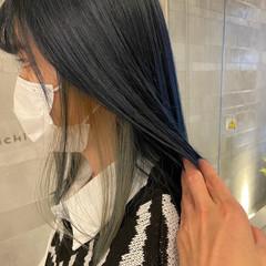 ターコイズブルー ストリート ブルー インナーカラー ヘアスタイルや髪型の写真・画像