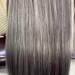 圧倒的透明感 ナチュラル ホワイティベージュ セミロング ヘアスタイルや髪型の写真・画像