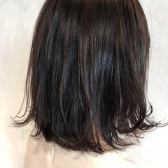 暗髪 ボブ アッシュグレージュ ナチュラル ヘアスタイルや髪型の写真・画像