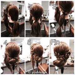 簡単ヘアアレンジ 編み込み 簡単 ロング ヘアスタイルや髪型の写真・画像