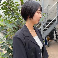 ショート ショートヘア 黒髪 ナチュラル ヘアスタイルや髪型の写真・画像