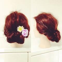 セルフヘアアレンジ 三つ編み ヘアアレンジ 簡単ヘアアレンジ ヘアスタイルや髪型の写真・画像