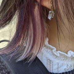 インナーピンク インナーカラーパープル ボブ インナーカラー ヘアスタイルや髪型の写真・画像