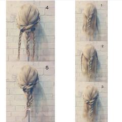 グラデーションカラー 逆三角形 フェミニン ヘアアレンジ ヘアスタイルや髪型の写真・画像