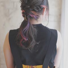 簡単ヘアアレンジ グラデーションカラー ヘアアレンジ ロング ヘアスタイルや髪型の写真・画像
