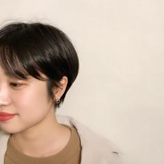 ナチュラル 小顔ショート 黒髪ショート ショート ヘアスタイルや髪型の写真・画像