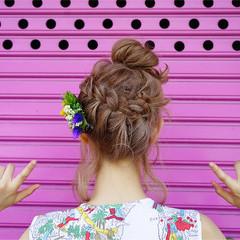 ボブ 外国人風 お団子 ヘアアレンジ ヘアスタイルや髪型の写真・画像