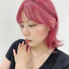 ボブ ブリーチカラー ピンクカラー ピンクブラウン ヘアスタイルや髪型の写真・画像