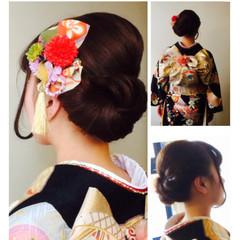 着物 ブライダル ミディアム 丸顔 ヘアスタイルや髪型の写真・画像