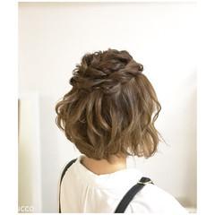 ヘアアレンジ ボブ デート ナチュラル ヘアスタイルや髪型の写真・画像
