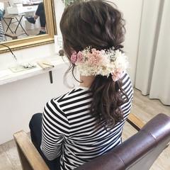 ヘアアレンジ ローポニーテール 花嫁 ロング ヘアスタイルや髪型の写真・画像