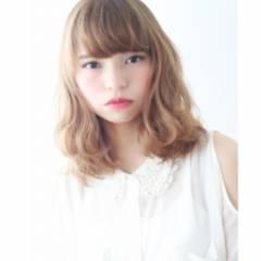 愛され モテ髪 ガーリー ミディアム ヘアスタイルや髪型の写真・画像
