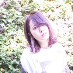 ピンク レッド ラベンダーピンク 秋 ヘアスタイルや髪型の写真・画像