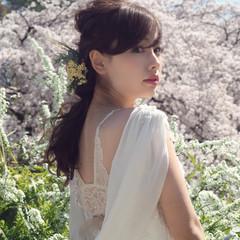セミロング ヘアアレンジ 編み込み 結婚式 ヘアスタイルや髪型の写真・画像