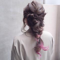 ヘアアレンジ 暗髪 ミディアム ストリート ヘアスタイルや髪型の写真・画像
