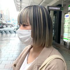 ブリーチカラー インナーカラー ミニボブ モード ヘアスタイルや髪型の写真・画像
