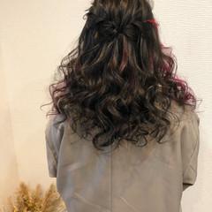 ヘアアレンジ ウォーターフォール フェミニン ハーフアップ ヘアスタイルや髪型の写真・画像