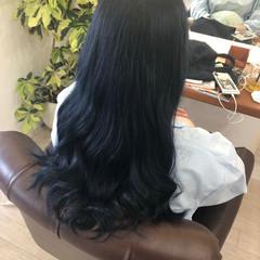 ロング ストリート ブルーブラック 超音波 ヘアスタイルや髪型の写真・画像