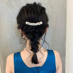 ヘアアレンジ セミロング エレガント 編み込み ヘアスタイルや髪型の写真・画像