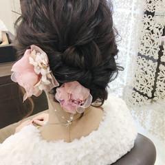 結婚式 ヘアアレンジ デート ミディアム ヘアスタイルや髪型の写真・画像