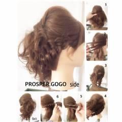 ショート 編み込み 二次会 簡単ヘアアレンジ ヘアスタイルや髪型の写真・画像