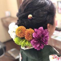ミディアム 結婚式 花 ガーリー ヘアスタイルや髪型の写真・画像