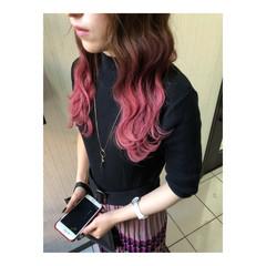 ダブルカラー グラデーションカラー ピンク ピンクアッシュ ヘアスタイルや髪型の写真・画像