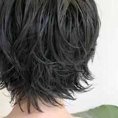 ショート フェミニン 無造作パーマ パーマ ヘアスタイルや髪型の写真・画像