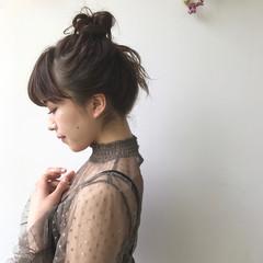 ハーフアップ ミルクティー ミディアム ショート ヘアスタイルや髪型の写真・画像