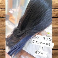 ロング ブリーチ ブルー イルミナカラー ヘアスタイルや髪型の写真・画像