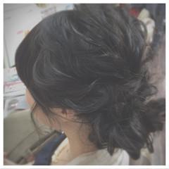 ミディアム ヘアアレンジ ゆるふわ 編み込み ヘアスタイルや髪型の写真・画像