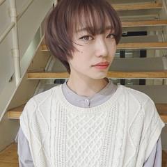 ショートヘア ナチュラル ピンクアッシュ ハイライト ヘアスタイルや髪型の写真・画像