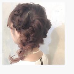 パーティ ガーリー ヘアアレンジ 編み込み ヘアスタイルや髪型の写真・画像