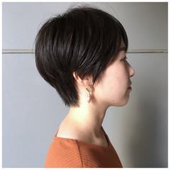 ダークカラー ナチュラル ベリーショート ショートボブ ヘアスタイルや髪型の写真・画像