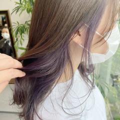 ロング インナーカラー バイオレット エレガント ヘアスタイルや髪型の写真・画像