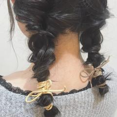 ガーリー ヘアアレンジ ゆるふわ セミロング ヘアスタイルや髪型の写真・画像