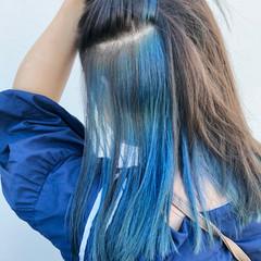モード ロング イヤリングカラー ブルー ヘアスタイルや髪型の写真・画像