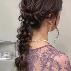 編み込み 編みおろし 結婚式 セミロング ヘアスタイルや髪型の写真・画像