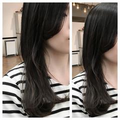 黒髪 セミロング アッシュ 大人かわいい ヘアスタイルや髪型の写真・画像
