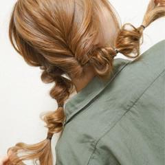 ロング セミロング 夏 簡単ヘアアレンジ ヘアスタイルや髪型の写真・画像