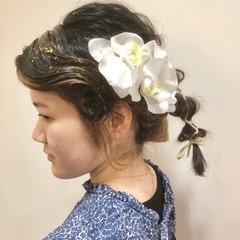ヘアアレンジ ポニーテール ミディアム 袴 ヘアスタイルや髪型の写真・画像