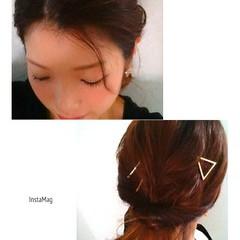 パーティ ママ 簡単ヘアアレンジ ヘアピン ヘアスタイルや髪型の写真・画像