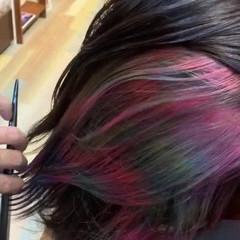 インナーカラー モード ボブ ダブルカラー ヘアスタイルや髪型の写真・画像
