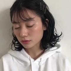 簡単ヘアアレンジ アンニュイほつれヘア ボブ 韓国風ヘアー ヘアスタイルや髪型の写真・画像