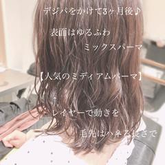 ゆるふわ アンニュイほつれヘア ミディアム デジタルパーマ ヘアスタイルや髪型の写真・画像