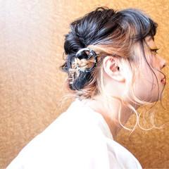 ミディアム ヘアアレンジ お祭り 夏 ヘアスタイルや髪型の写真・画像