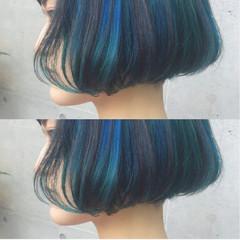 ブリーチ ダブルカラー ブルー ストリート ヘアスタイルや髪型の写真・画像