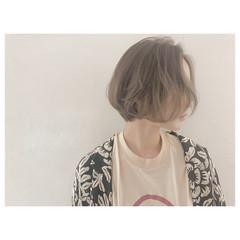 グレージュ 外国人風 ハイライト ボブ ヘアスタイルや髪型の写真・画像